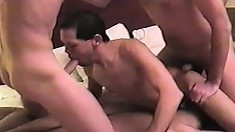 Uninhibited guys have an exciting ass-drilling gay threesome