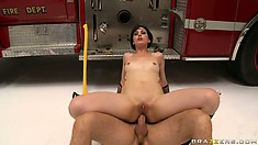 She takes it in her brown hole with him pounding hard and goes ass to mouth for cum