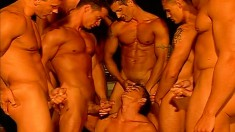 Gorgeous and lustful guys indulge in an exciting gay orgy by the pool