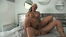 French slut with dyed hair rides like a true whore on a big dick
